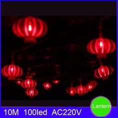 Tanbaby Праздник свет Шнура 5 М 10 М Красный фонарь украшением фестиваля света 220В ЕС/США plug для наружного освещения на новый год