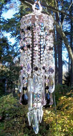 Jeweled Paris Panache Antique Crystal wind Chime by sheriscrystals, $129.95