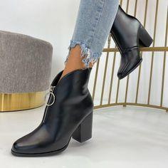 Botinele Perra Negre sunt create pentru doamne active fiind foarte comode, ofera stil si eleganta. Marimi disponibile - 36, 37, 38, 39, 40, 41. Materialul este din piele ecologica cu interior captusit. Inaltimea tocului este de 9 cm. Produs este disponibil in 2 culori, negru si rosu. #botine #botinedama #botinedamanegre #botinenegre #incaltamintedama #incaltaminte Booty, Ankle, Shoes, Fashion, Manualidades, Moda, Swag, Zapatos, Wall Plug