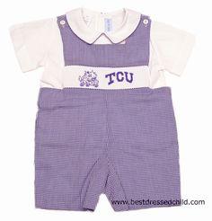 Vive la Fete Collegiate - Boys Purple Texas Christian University TCU Smocked Shortall with Shirt