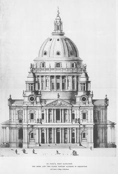 West elevation of St. Paul's Cathedral, London/ /Christopher Wren #elevation #cathedral #London