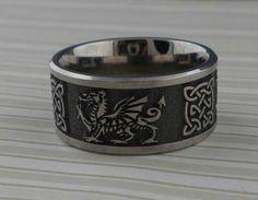 Welsh Dragon & Celtic Knot Titanium Wedding Ring