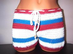 Crochet Women Boy Shorts in White and Grey with Wooden by vikni, $33.00
