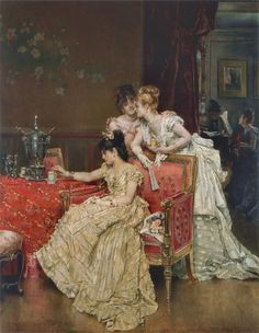 alfred stevens, the cup of tea, 1874 Alfred Stevens, Renaissance Kunst, Renaissance Paintings, Victorian Paintings, Victorian Art, Lesbian Art, Gay Art, Classic Paintings, Beautiful Paintings