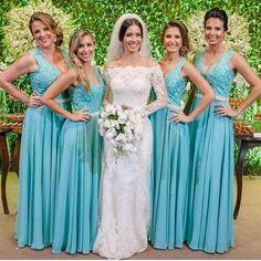 Modelos de vestidos longos para madrinhas de casamento, em tons de rosa, marsala, verde, azul, lilás, tanto para casamento durante o dia, na praia e a noite