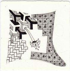 Ein Zentangle aus den Mustern Pointerz, Basket Weave, Faux-cets, Tuberitz gezeichnet von Ela Rieger, CZT