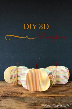 """These DIY 3D Pumpkins are the perfect little addition to your fall decor, plus they would make great place cards at your next fall party!"" What a cute idea!"