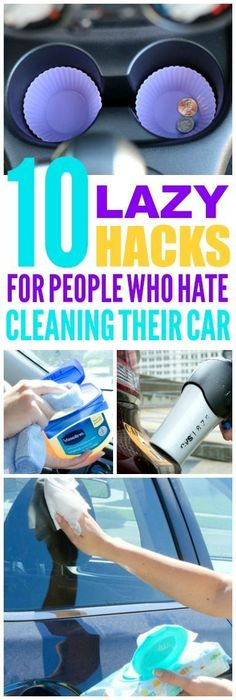 These 10 lazy car cleaning hacks are THE BEST! I'm so glad I found these GREAT great cleaning and organization tips! Now I have great ways to keep my car clean and tidy! #cleaninghacks #organizationhacks #cleaningtips #organizationtips #organizationideas