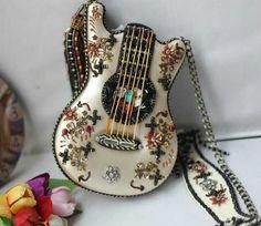 sac à main exclusive applique exquise guitare en forme de sacs à main de la main de conception originale musiciens(China (Mainland))