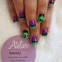 Frankenstein nails by Jen at Atelier Beauty Bar Reno, NV