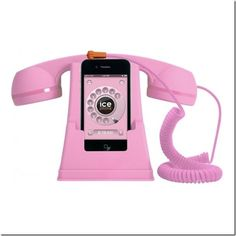 Pink Ice Phone retro iPhone cell phone handset review by Chronically Vintage blog. I do hope I win one! :)