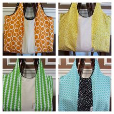 Reversible Shoulder Tote Bag in Orange, Yellow, Green, and Blue
