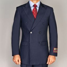 Men's Navy Blue Double Breasted Suit - Overstock Shopping - Big Discounts on Suits Navy Suits, Groom Suits, Groom Attire, Mens Fashion Suits, Mens Suits, Costumes Bleus, Tailored Suits, Well Dressed Men, Outfits