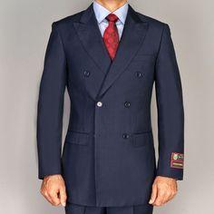 Giorgio Fiorelli Men's Navy Blue Double Breasted Suit | Overstock.com