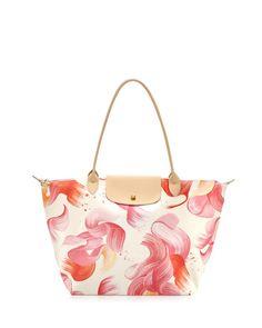Longchamp Splash Large Shoulder Tote Bag, Coral