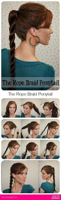 DIY The Rope Braid Ponytail Tutorial via pindemy