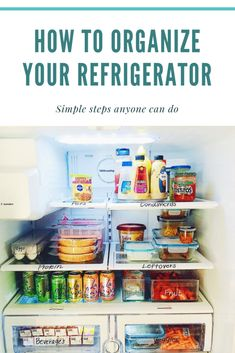 Learn how you can organize your refrigerator. Minimize the amount of food being thrown out by having bins, turntables, and labels. Refrigerator Organization, Home Organization Hacks, Kitchen Organization, Kitchen Refrigerator, Declutter Your Home, Organizing Your Home, Organizing Tips, Storage Bins, Storage Solutions