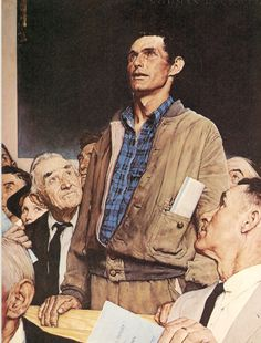 "Andrew kind of looked like this—except a lot younger and wearing different clothes—at one point. (""Freedom of Speech"" by Norman Rockwell.)"