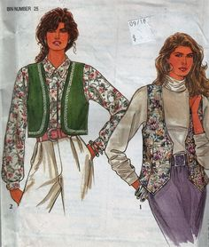 """Loose-fitting or Bolero Vest  - 1990's Retro Women's pattern - Plus Size 6-24 Bust 30.5-46"""" - UNCUT- Sewing Pattern Simplicity 7985 by Sutlerssundries on Etsy"""