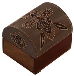 """Bulk Wholesale Handmade 3"""" Trunk-Shaped Mango-Wood Jewelry Box / Trinket Box in Gray & Natural-Wood Color Decorated with Traditional-Look Motifs in Cone-Painting Art – Ethnic-Look Boxes from India"""