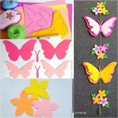 kevadine riputis - värvilistest paberitest liblikad ja lilled