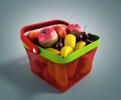 shopping basket full of fresh fruit
