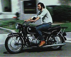 """Steve Jobs on a 1966 MBW motorcycle. Photo taken in 1982 and  originally featured in an article published by National Geographic titled """"High Tech, High Risk, and High Life in Silicon Valley."""""""