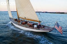 Sailing upwind on the classic 12 Meter yacht, Onawa