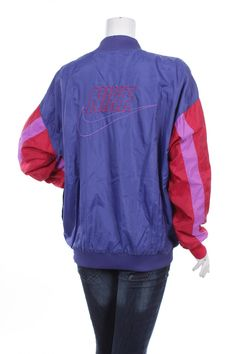 save off 95711 dbdff Vintage 90s Nike Gray Tag Swoosh Women s Windbreaker pullover jacket Big  Logo Spell Out Color Block Purple Red  Pink Size L