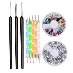 Sets de 3 pinceaux + 5 stylos + 2 disques strass - bestyle29.com