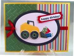 Cute birthday card, love the stripe and embossed green!