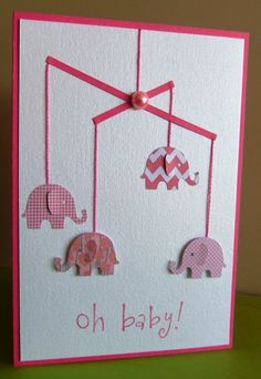 handmade baby card ... cute elephant mobile .... die cut elephants ... clean and simple ...MS punch