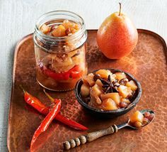 Pear chutney by Tom Kerridge, with pears, sultanas, a hint of chilli, star anise, ginger and cumin.