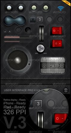 Tablet/Phone User Interface Professional Set V.3  #GraphicRiver        Tablet/Phone User Interface PROFESSIONAL SET V . 3.0 by diegomonzon  326 PPI (pixels per inch)   Retina Display – ready   iPad – ready   iPhone 4 – ready  Highly customizable:   Everything is made with editable paths, except the iPad frame that is for illustration purpose only.  You can easily change dimensions and styles Includes:   Everything you see in the preview image (editable)  Make your iPad, iPhone, iPod touch…