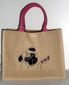 Our Pug Love #embroidery on to a #jute shopping bag - pugly wuggly goodness available to buy on our etsy store