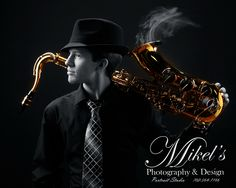 HS Senior Photo with a smoking Saxophone MikelsPhotography.com 702-564-7166