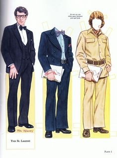 PD225 Yves Saint Laurent paper doll by Tom Tierney
