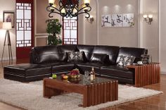 Caesar Palace Chinese Style Black Leather Corner Sofa Set(right) - MelodyHome.com