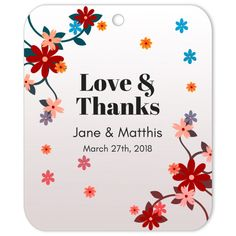 The Windy Blooms Love & Thanks gift tag is the perfect favor decoration or gift tag for weddings and engagements. Wedding Gift Tags, Wedding Favours, Diy Wedding, Party Favors, Wedding Stickers, Whimsical Wedding, Autumn Wedding, Thank You Gifts, Diy Party