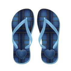 denim heart Flip Flops #fashion #shoes