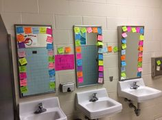Not the stickies but laminated signs focusing on self esteem for girls bathrooms at school. Maybe even write these messages on the mirrors with expo. Middle School Counselor, High School Counseling, School Social Work, Pbis School, Counseling Office, Group Counseling, Student Leadership, Leadership Lessons, Leadership Activities