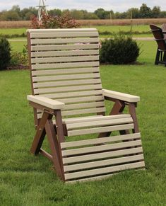 Amish Poly Rollback Reclining Chair This is a chair that's easy to fall asleep in under a shade tree. Available in lots of fun color combos. Eco friendly poly that's low maintenance and will last for decades.