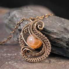 Beautiful Bronze Woven Wire Pendant and Chain with Crab Agate Bead