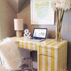My DIY Striped Desk || Home Office