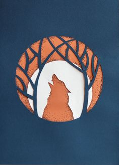 Paper Cut howling wolf in the forest 8.3 x 11.7 by oxanaart