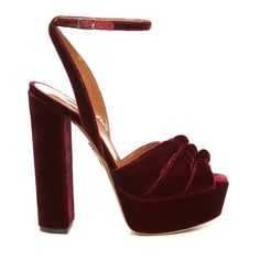 Aquazzura Mira knot velvet platform sandals (€680) ❤ liked on Polyvore featuring shoes, sandals, dark red, ankle strap sandals, platform sandals, strappy platform sandals, chunky-heel sandals and red strappy sandals