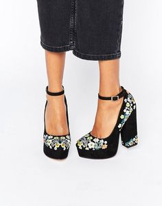 ASOS | ASOS PANCAKES Embroidered Platforms
