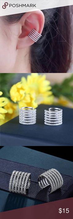 High Quality clip earring. Single piece Clip Earring. High Quality Crystal CZ Platinum Plated. One piece. Jewelry Earrings