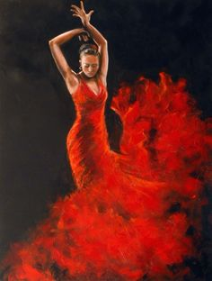 Dancing Lady in Red Full Moon In Aries, Spanish Dancer, Dance Paintings, Just Dance, Love Art, Painting Inspiration, Argentine Tango, Lady In Red, Beauty