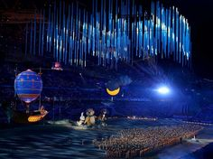 CLOSING CEREMONY:  The Hare, the Polar Bear and the Leopard perform with dancers during the 2014 Sochi Winter Olympics Closing Ceremony at Fisht Olympic Stadium